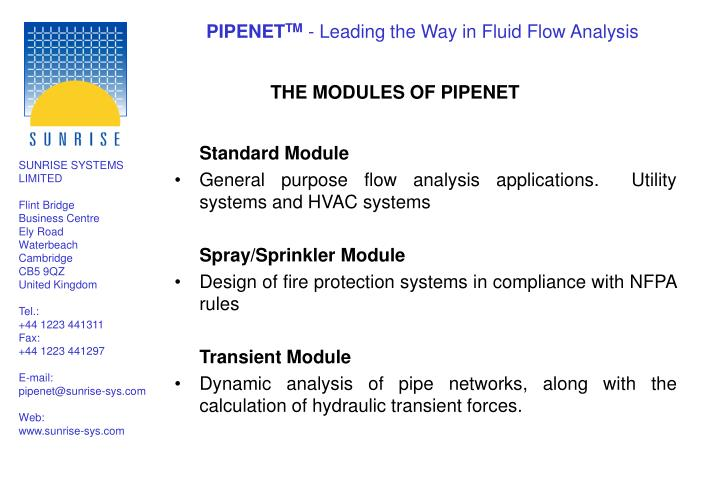 THE MODULES OF PIPENET