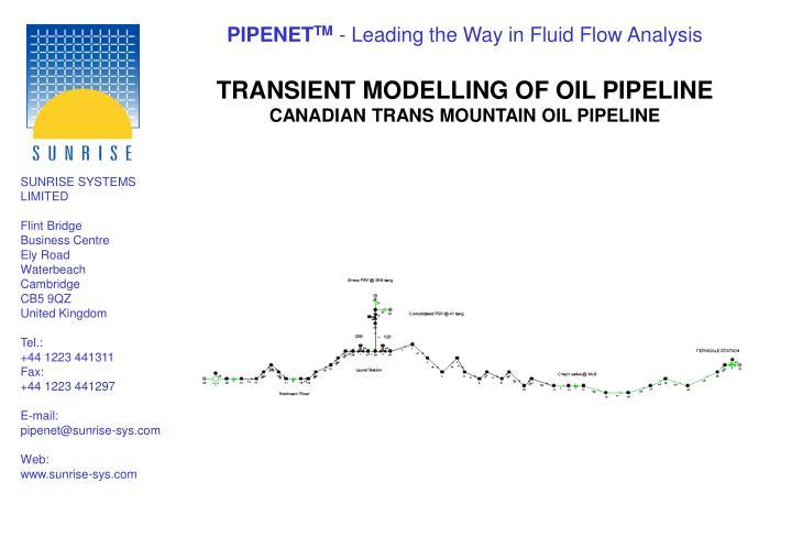 TRANSIENT MODELLING OF OIL PIPELINE