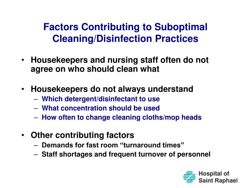Factors Contributing to Suboptimal Cleaning/Disinfection Practices