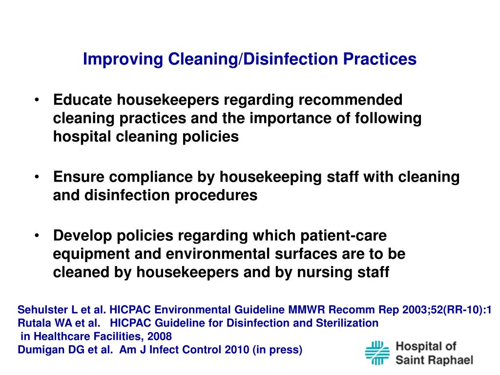 Improving Cleaning/Disinfection Practices