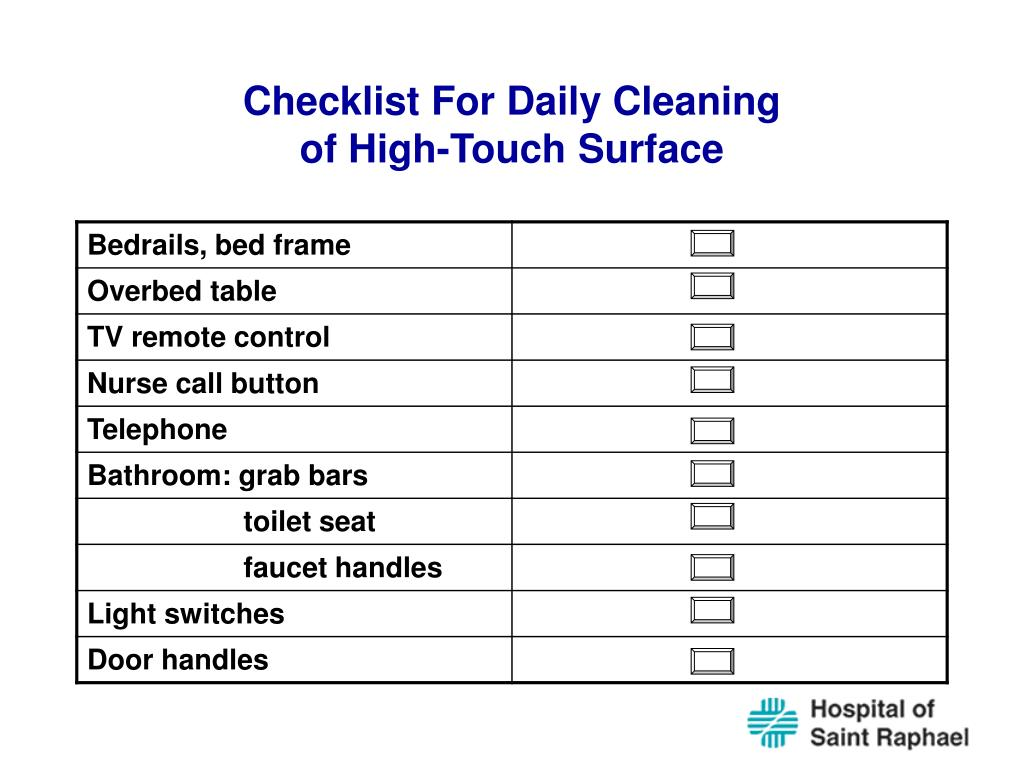 Checklist For Daily Cleaning