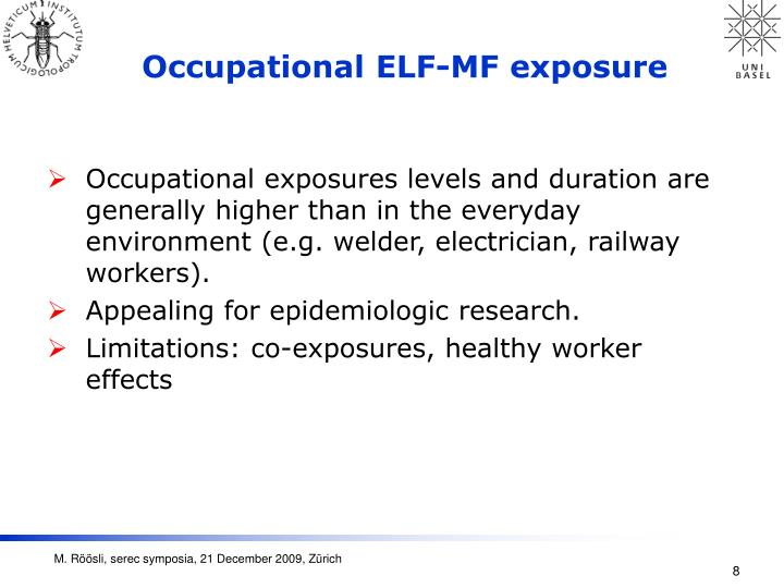 Occupational ELF-MF exposure