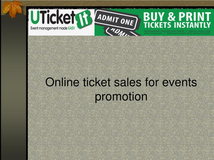 Online ticket sales for events promotion