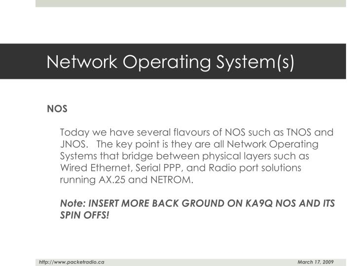Network Operating System(s)
