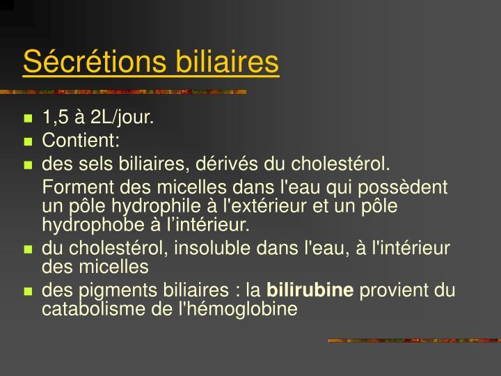 Sécrétions biliaires