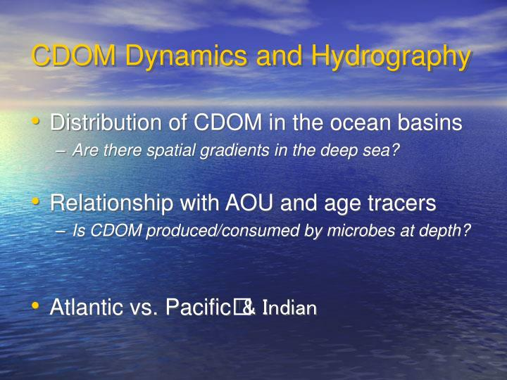 CDOM Dynamics and Hydrography