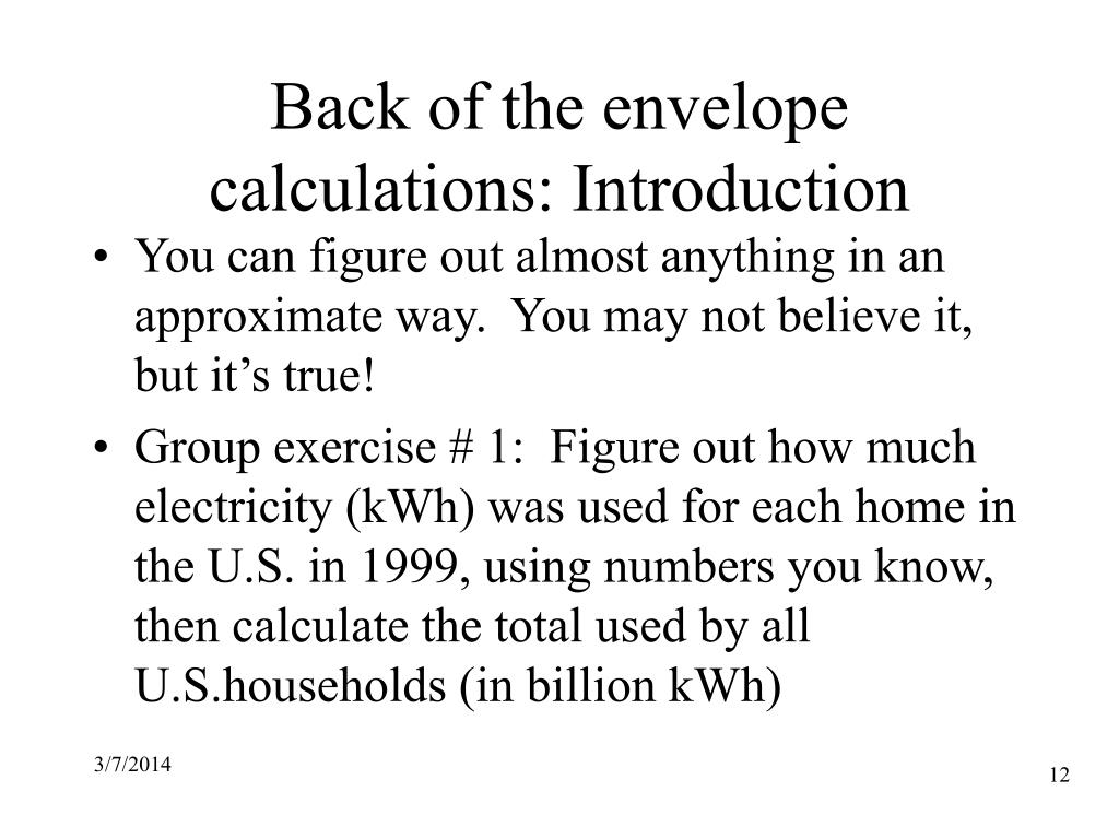 Back of the envelope calculations: Introduction