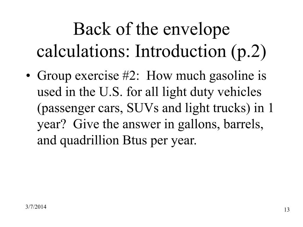 Back of the envelope calculations: Introduction (p.2)