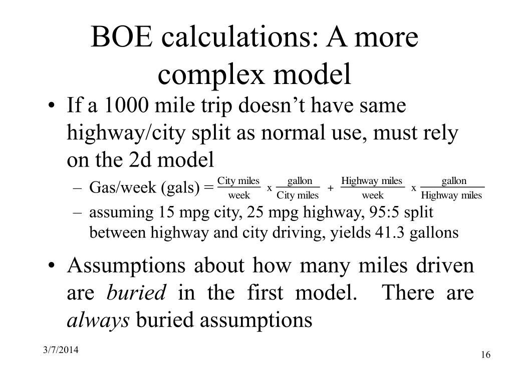 BOE calculations: A more complex model