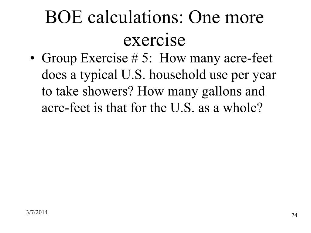 BOE calculations: One more exercise