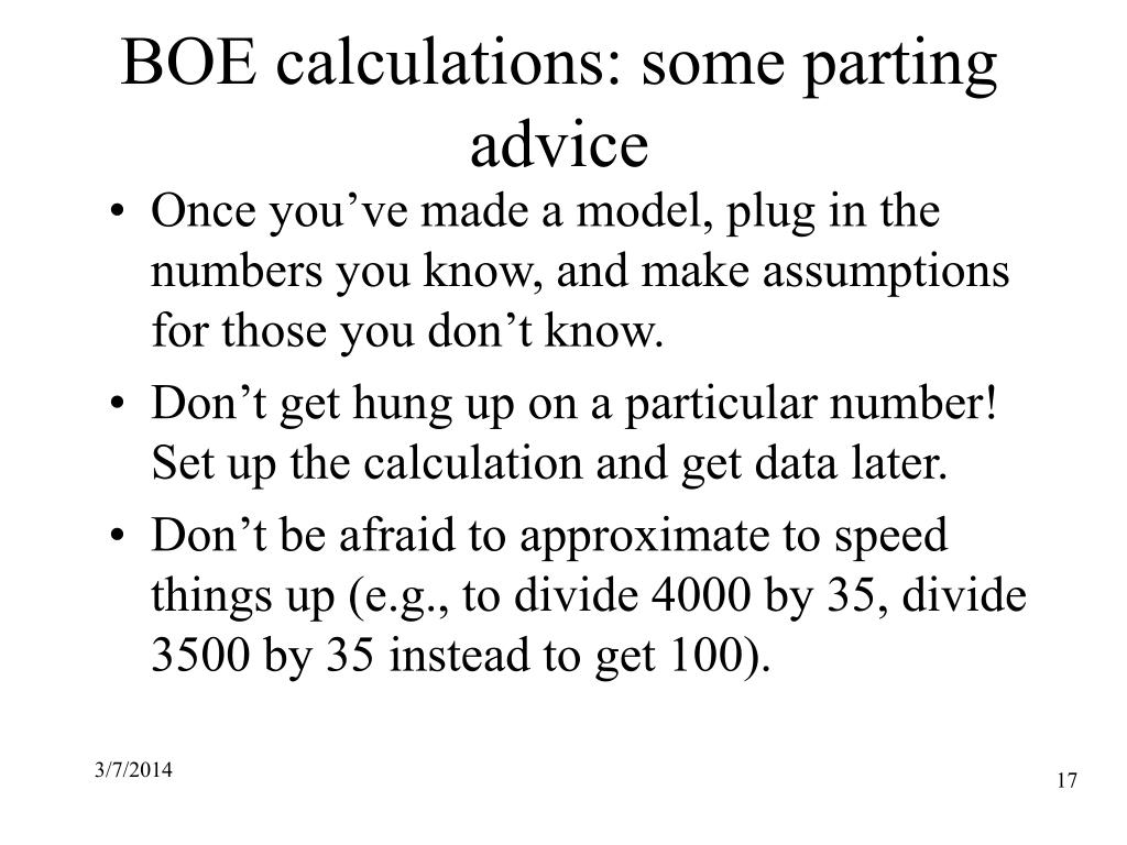 BOE calculations: some parting advice