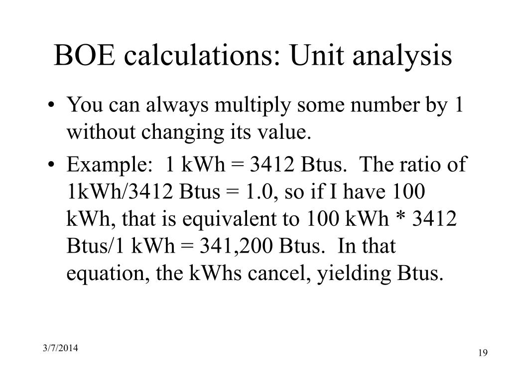 BOE calculations: Unit analysis