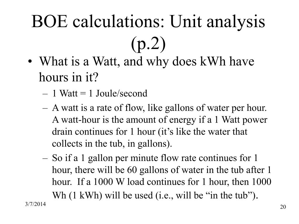 BOE calculations: Unit analysis (p.2)