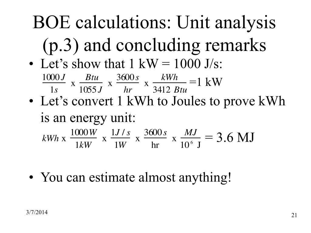 BOE calculations: Unit analysis (p.3) and concluding remarks