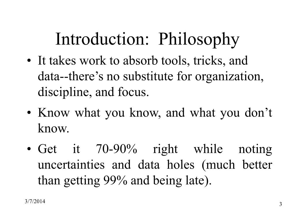 Introduction:  Philosophy