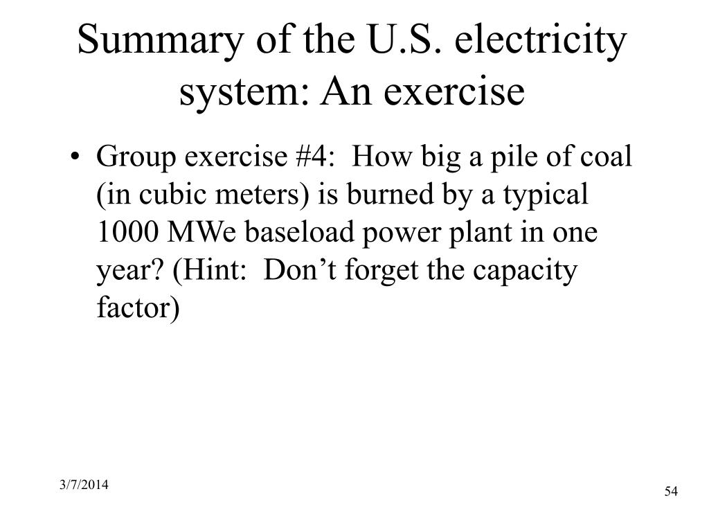 Summary of the U.S. electricity system: An exercise