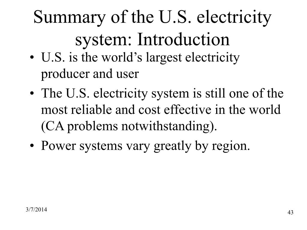 Summary of the U.S. electricity system: Introduction