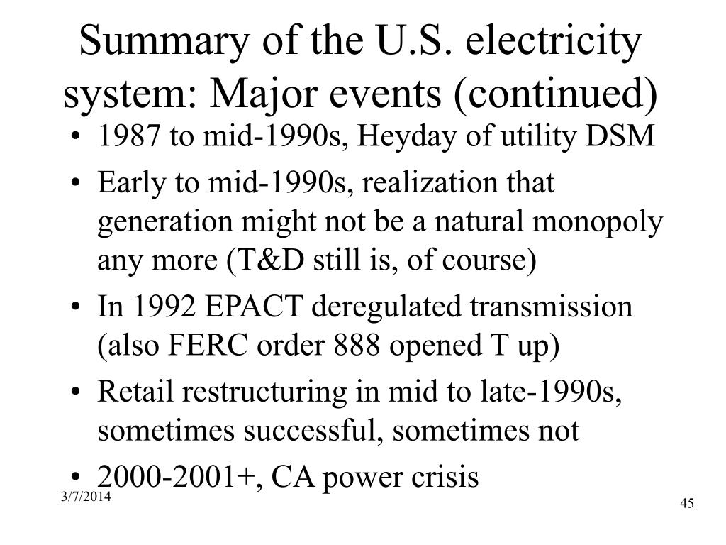 Summary of the U.S. electricity system: Major events (continued)