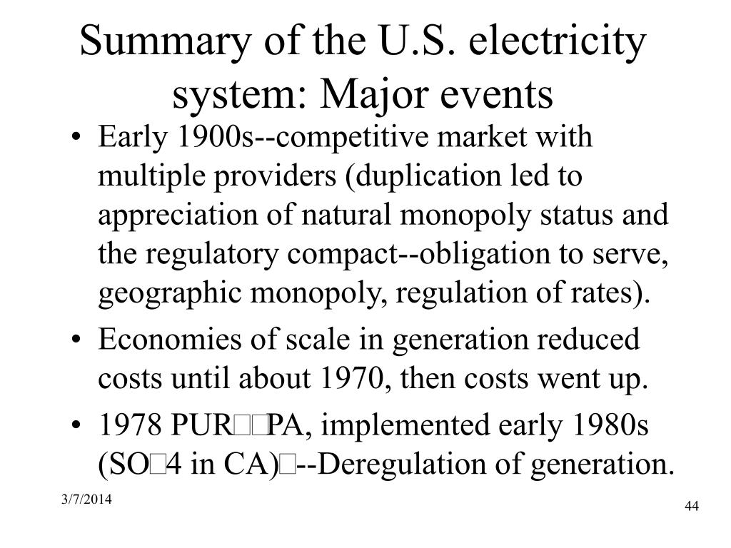 Summary of the U.S. electricity system: Major events