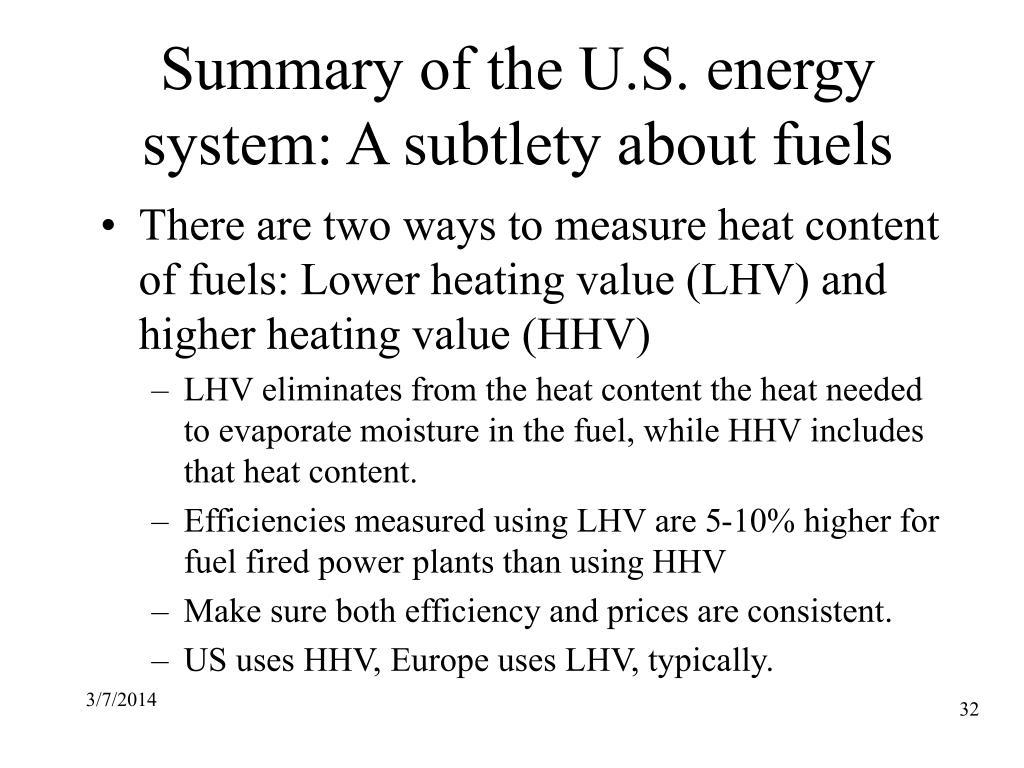 Summary of the U.S. energy system: A subtlety about fuels