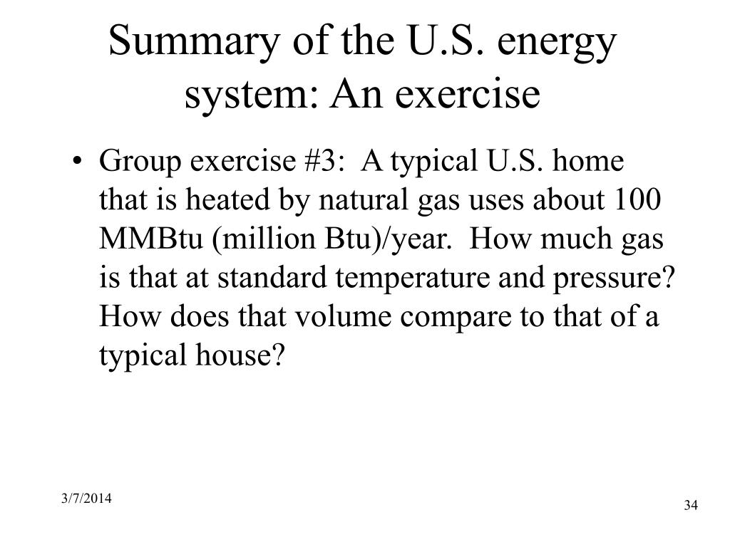 Summary of the U.S. energy system: An exercise