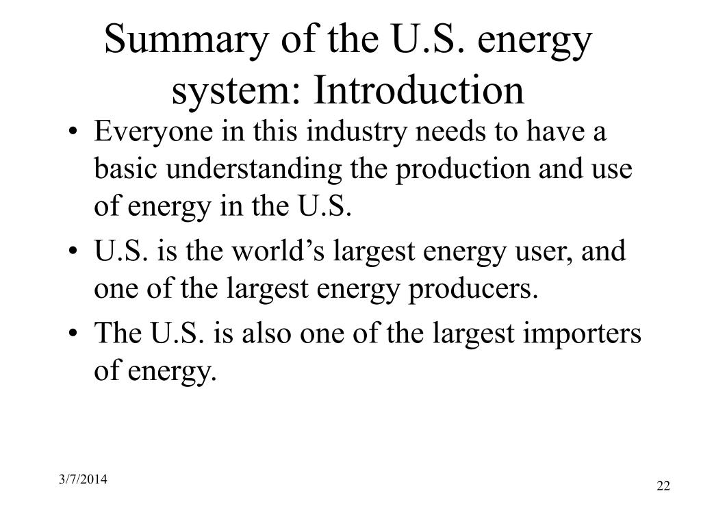 Summary of the U.S. energy system: Introduction