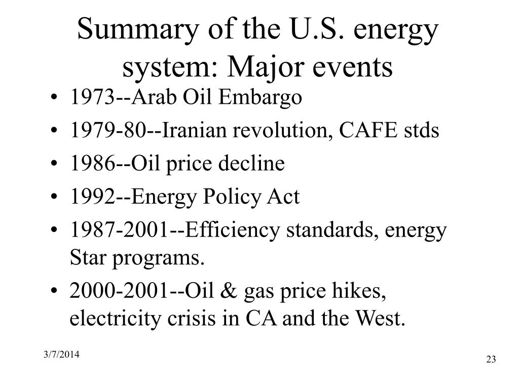 Summary of the U.S. energy system: Major events