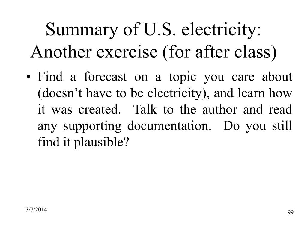 Summary of U.S. electricity: Another exercise (for after class)