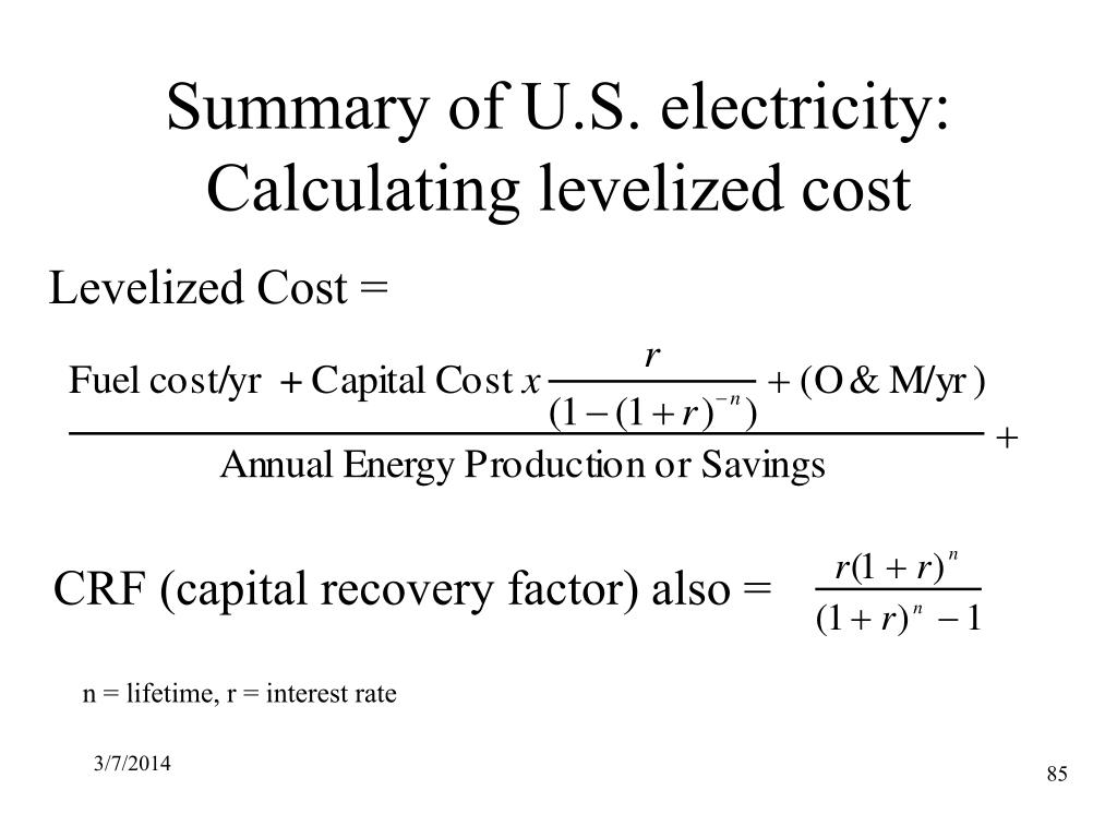 Summary of U.S. electricity: Calculating levelized cost