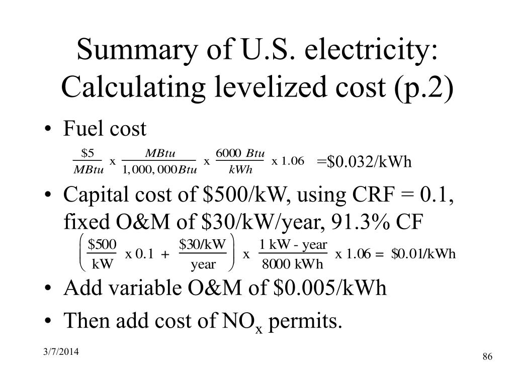 Summary of U.S. electricity: Calculating levelized cost (p.2)