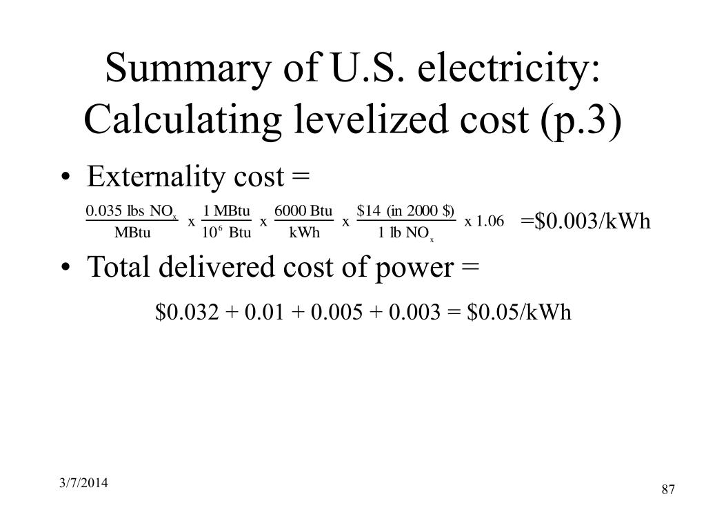 Summary of U.S. electricity: Calculating levelized cost (p.3)