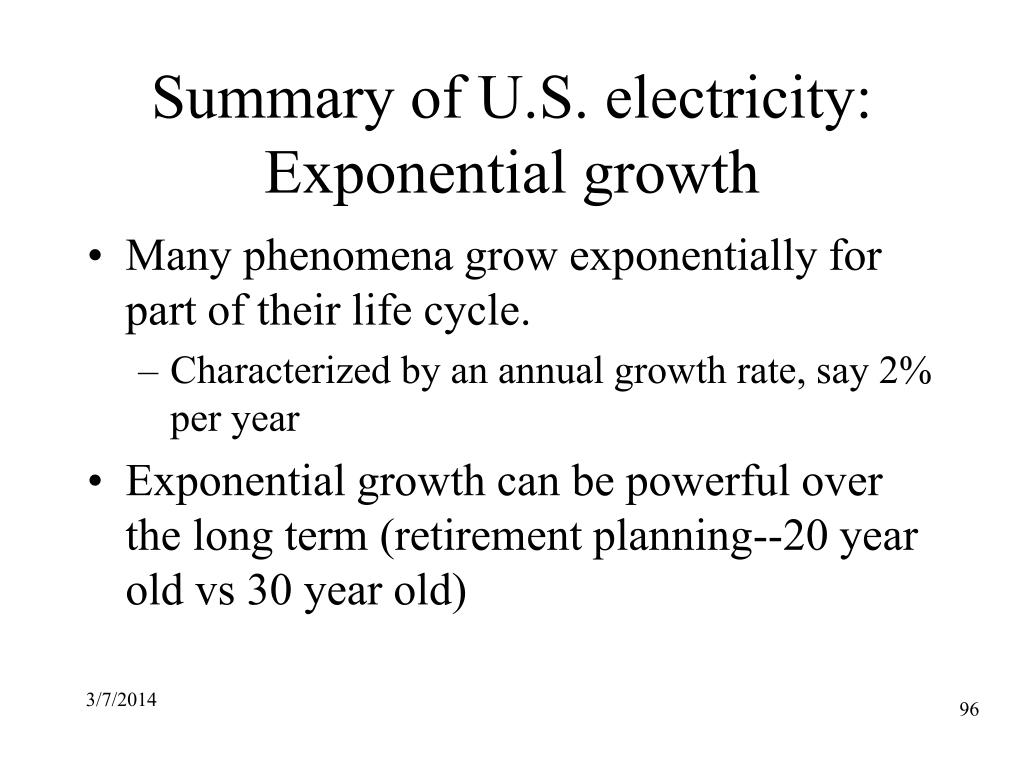 Summary of U.S. electricity: Exponential growth