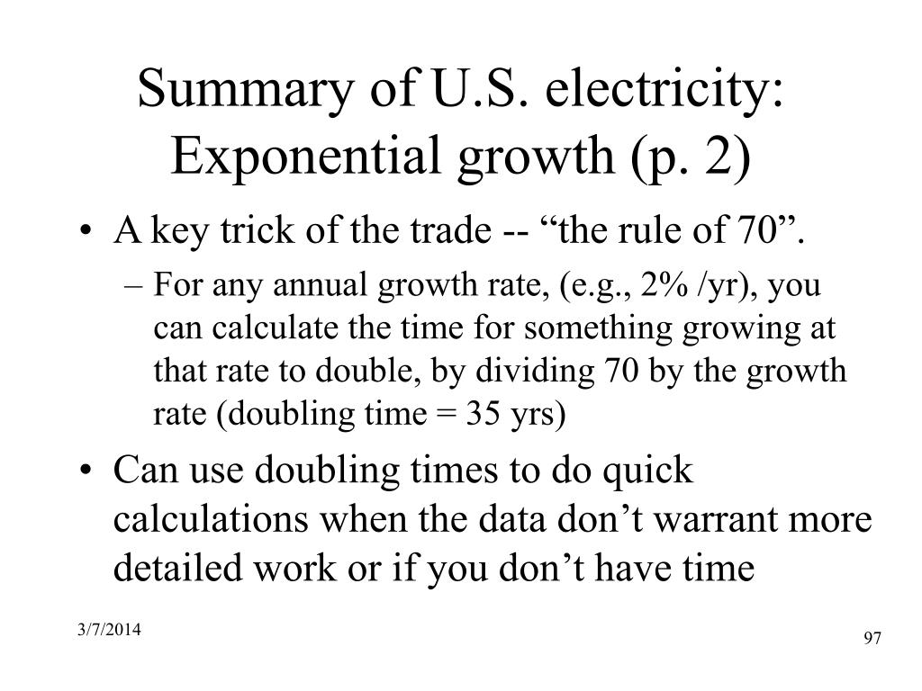 Summary of U.S. electricity: Exponential growth (p. 2)