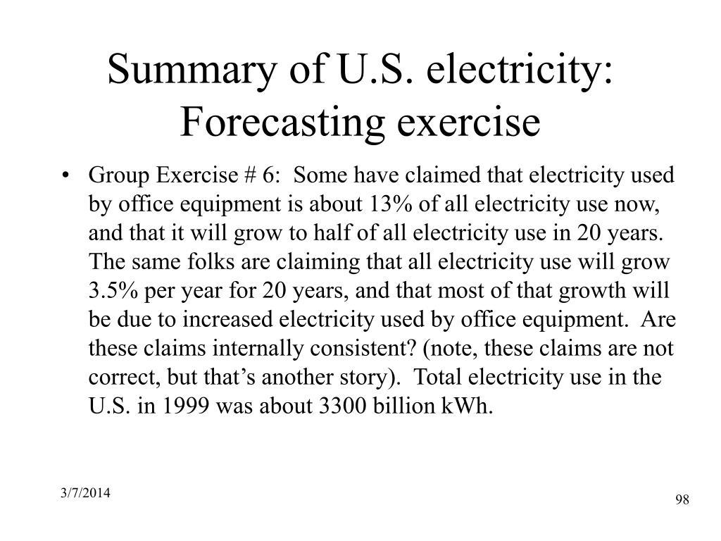 Summary of U.S. electricity: Forecasting exercise