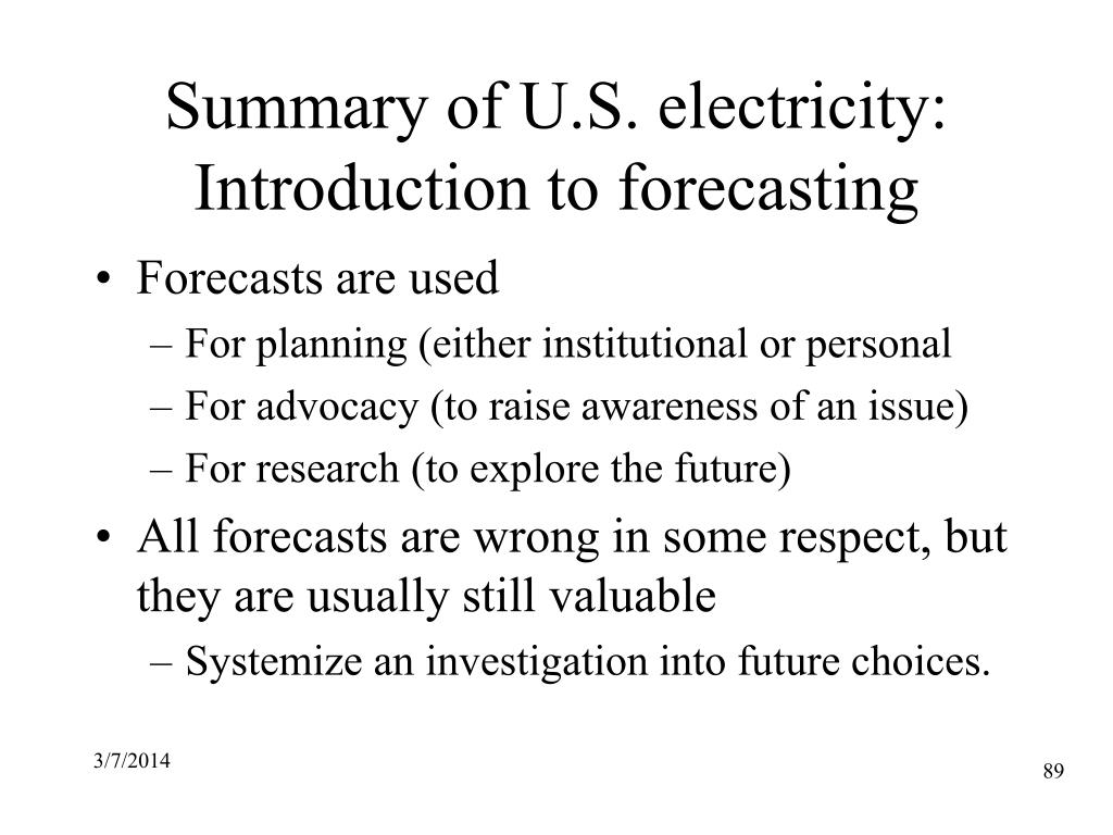 Summary of U.S. electricity: Introduction to forecasting
