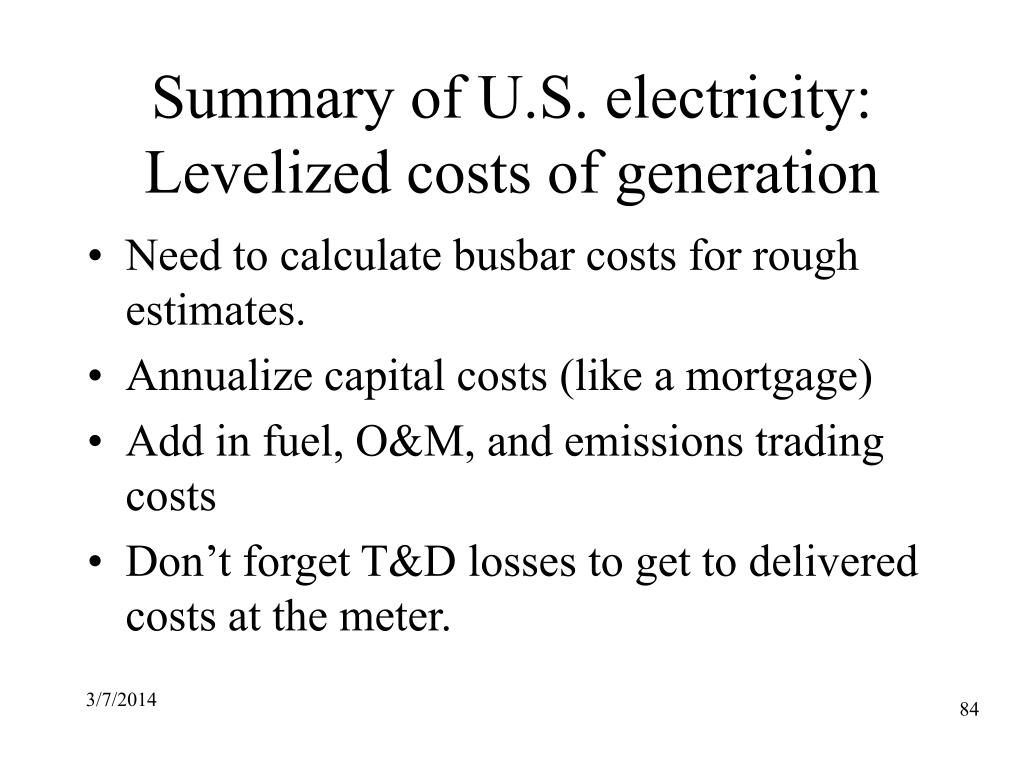 Summary of U.S. electricity: Levelized costs of generation