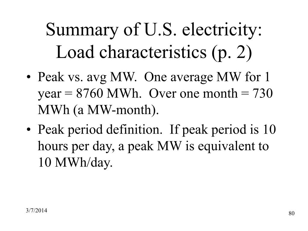 Summary of U.S. electricity: Load characteristics (p. 2)