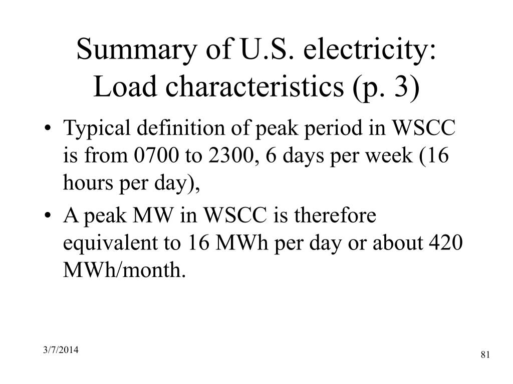 Summary of U.S. electricity: Load characteristics (p. 3)