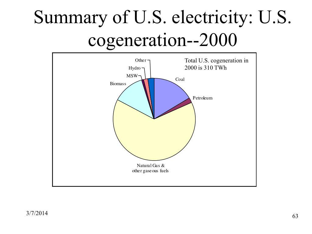 Summary of U.S. electricity: U.S. cogeneration--2000