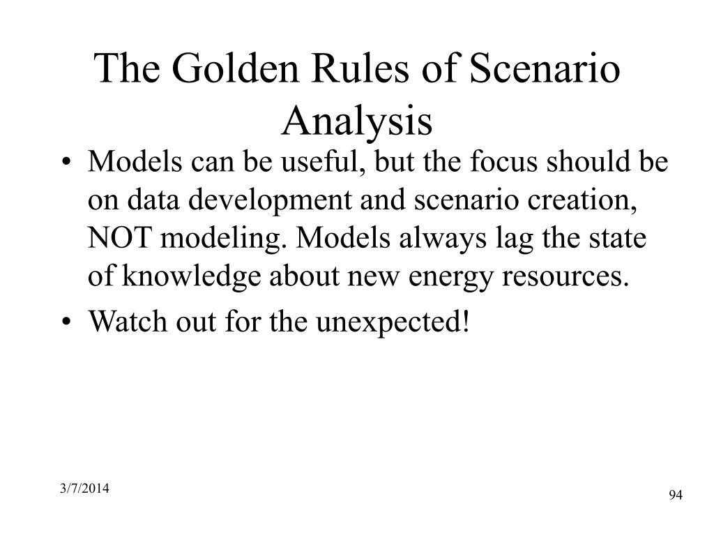 The Golden Rules of Scenario Analysis