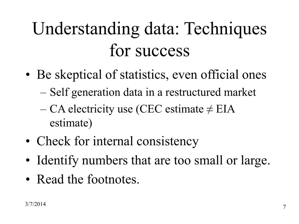 Understanding data: Techniques for success