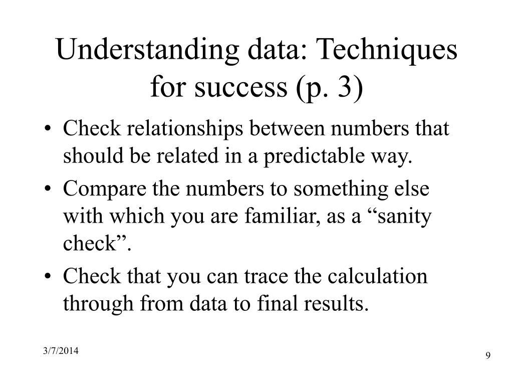 Understanding data: Techniques for success (p. 3)