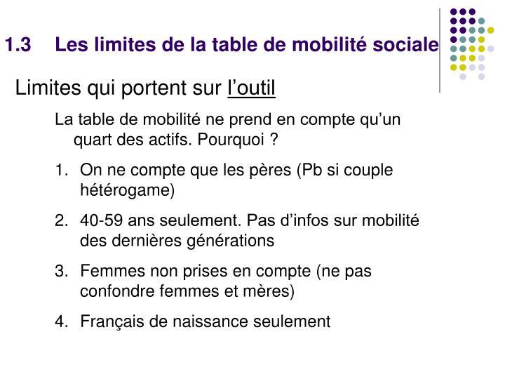 1.3Les limites de la table de mobilité sociale