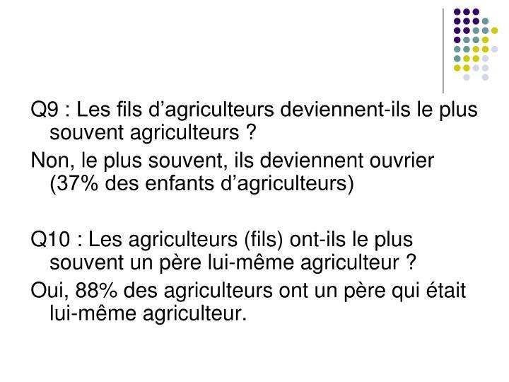 Q9: Les fils d'agriculteurs deviennent-ils le plus souvent agriculteurs?