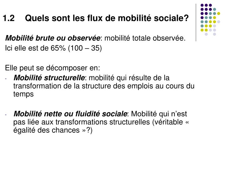 1.2Quels sont les flux de mobilité sociale?