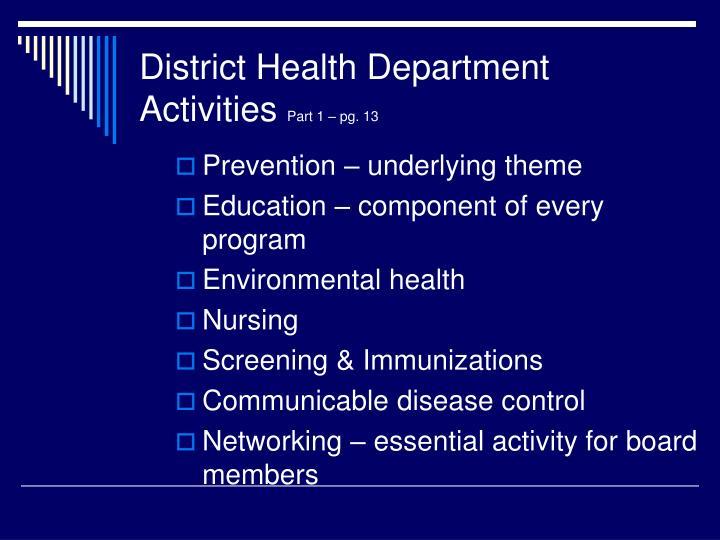 District Health Department Activities