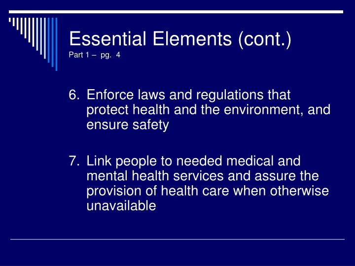 Essential Elements (cont.)