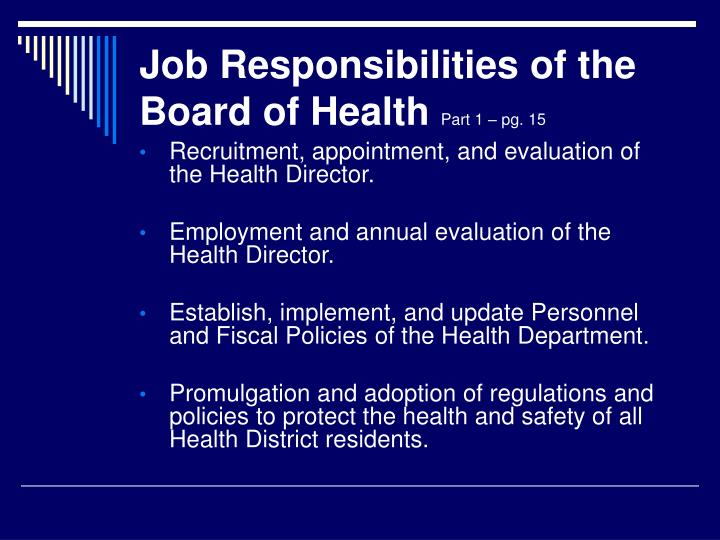Job Responsibilities of the Board of Health