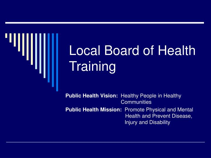 Local board of health training