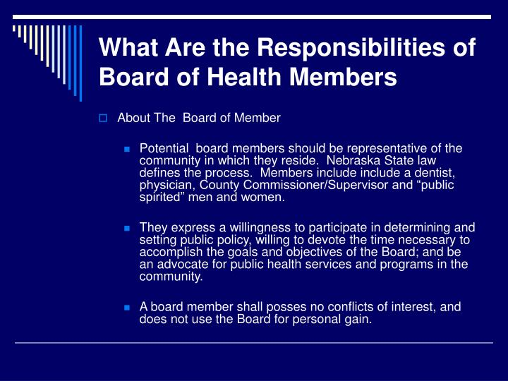 What Are the Responsibilities of Board of Health Members